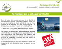 CERTIBRUIT : colloque du 28 novembre 2017