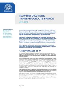 Le rapport d'activité de Transfrigoroute France est paru
