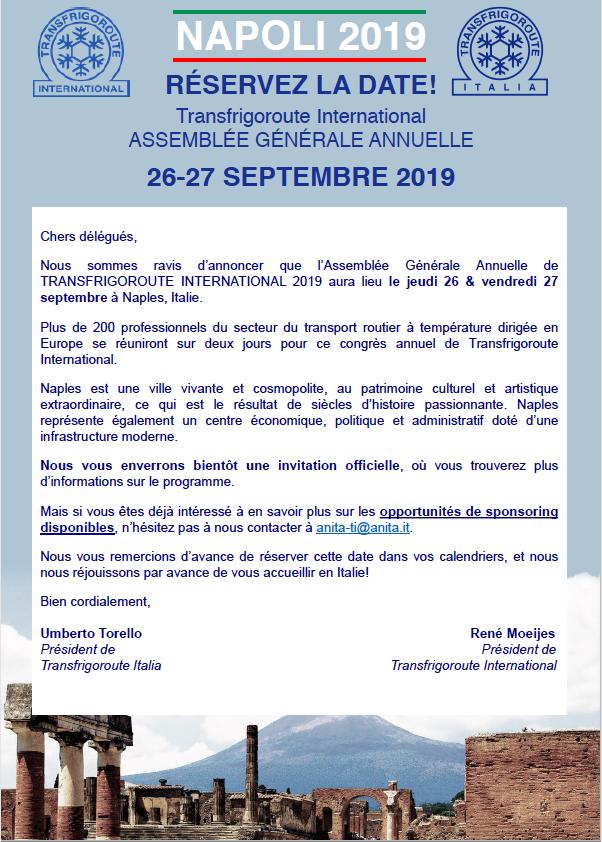 Prenez date Assemblée Générale TI 2019